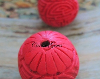 30% OFF SALE Red Cinnabar Carved Beads,Round 25mm , 2 pcs