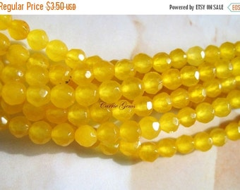 "20% OFF ON SALE 8"" long (48 pcs) Yellow Jade Faceted Round 4mm Beads"