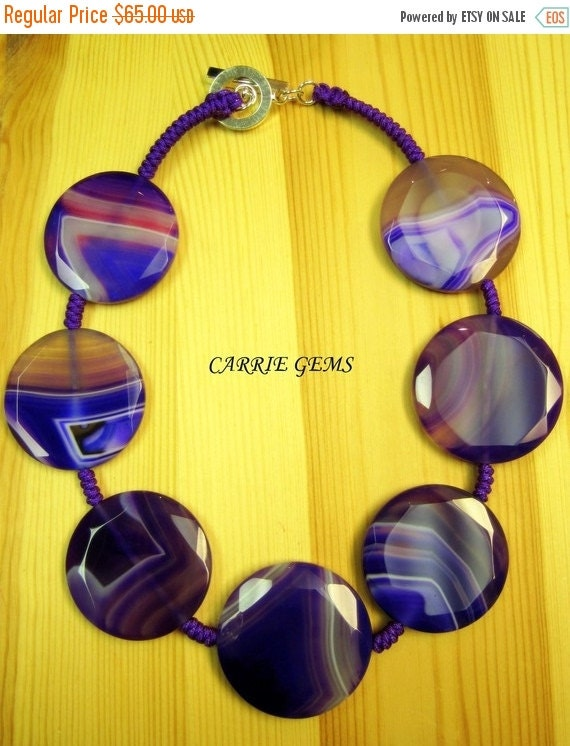 20% OFF ON SALE Purple Agate with Handmade Knots Necklace