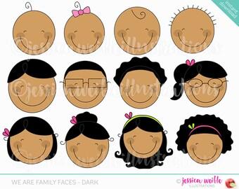 We are Family Faces -Dark Skin- Cute Digital Clipart for Invitations, Card Design, Scrapbooking, Web Design, Stick Figure Faces Clip Art