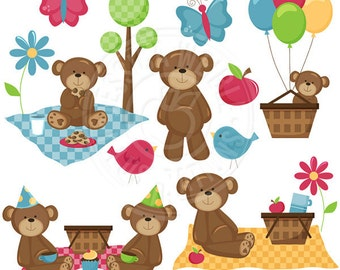 Picnic Bears Cute Digital Clipart - Commercial use OK - Bear Picnic Clipart, Picnic Graphics, Cute Bears, Picnic clip art, summer graphics