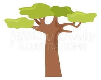 Baobab Tree Cute Digital Clipart, Tree Clip art, Safari Graphics, Baobab Tree Illustration, #308
