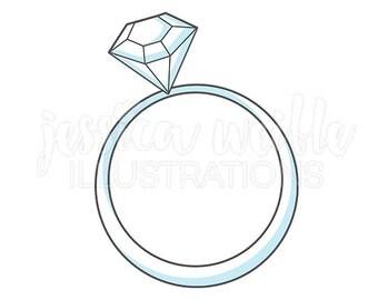 Wedding Ring Cute Digital Clipart, Wedding Ring Clip art, Bridal Graphics, Engagement Ring Illustration, #425