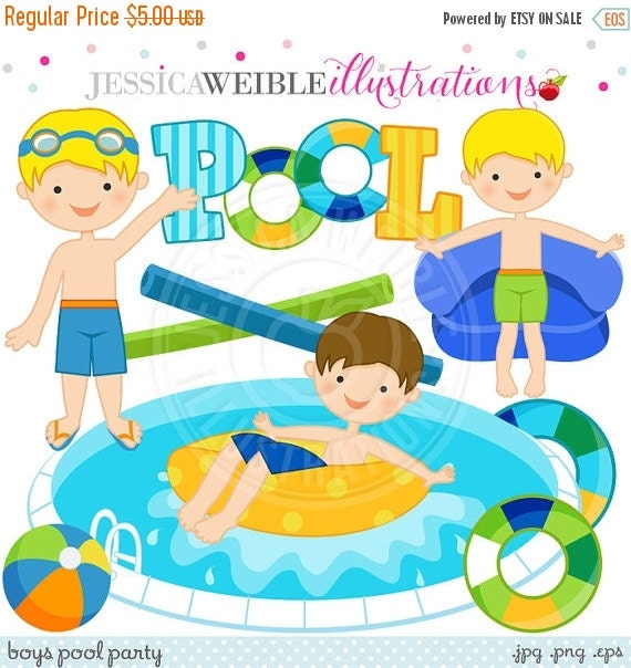 SALE Boys Pool Party Cute Digital Clip Art - Commercial Use Ok - Summer Swimming Pool Party Graphics