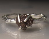 15% OFF SALE Raw Diamond Twig Ring in Sterling Silver, Chocolate Rough Diamond Engagement Ring, Chocolate Raw Diamond Twig Engagement Ring