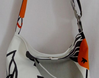 White with Black and Grey Leaves, Orange, Cross Body Purse, Shoulder BAG, IKEA, Spring Summer, Travel Purse
