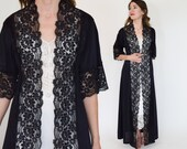 70s Black Robe Nightgown | Nylon Lace Long Peignoir Loungewear Lingerie