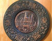 Vintage Budapest Hungary Ornate Metal Wall Hanging Plate