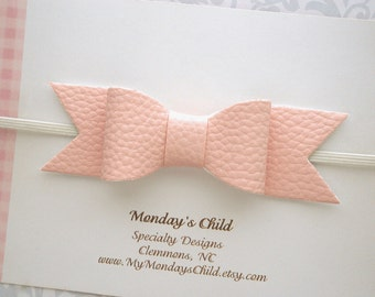 Faux Leather Bow, Baby Bow Headband, Pink Baby Headband, Pink Baby Bow, Pink Bow, Leather Bow Headband, Baby Bows, Baby Headband Toddler Bow