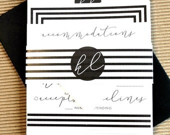 Becca Stripe Wedding Invitation Suite with Belly Band - Black and White (customizable)