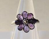 Amethyst Ring Size 8 Flower Ring