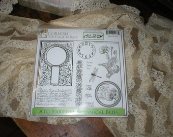 Cornish Heritage Farms BOTANICAL BLISS Rubber Stamps New in pkg & Un-mounted Beautiful 2009 Retired