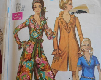 Simplicity 7956, McCalls 4371, 4801 Sewing Pattern Bundle Size 12 Dresses, Hostess Pant suit, maxi skirt