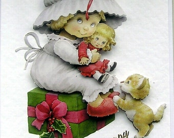 Christmas Card, Happy Christmas Hand Crafted 3D Decoupage Card, Happy Christmas (1889), Layered Card, Xmas Card, Holiday Card