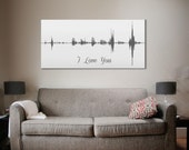 3rd Anniversary Gift Voice Wave Art I Love You Personalized Voice Message - Multiple Sizes Available