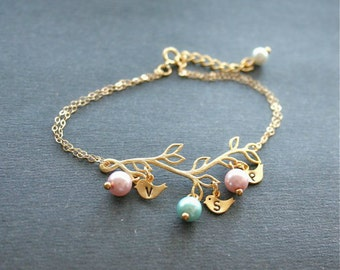 birds Bracelet, Gold Branch Bracelet, Initial Bracelet, Personalized Jewelry, Mother Bracelet, Mom Gift, Bridesmaids Bracelet, Gold Filled