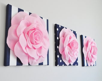 Nautical Nursery - Baby Decor, Navy / Pink Baby Shower, Baby Girl Shower Decor, Nursery Art, Nautical Nursery Decor, Pink and Navy Nursery