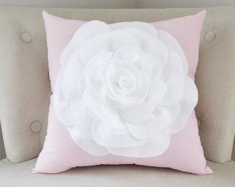 Throw Pillow White Rose on Light Pink Pillow 16x16 Botanical Home Decor 3D Rose Pillow Decorative Pillow