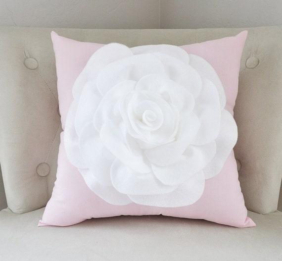 throw pillow white rose on light pink pillow 16x16 botanical. Black Bedroom Furniture Sets. Home Design Ideas