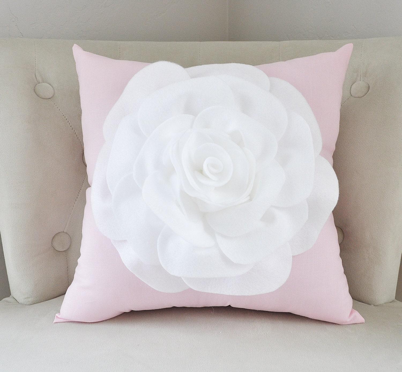 Light Pink Decorative Pillow : Throw Pillow White Rose on Light Pink Pillow 16x16 Botanical