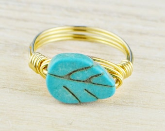 Turquoise Leaf Ring - Yellow Gold Filled or Argentium Silver Wire Wrapped Turquoise Colored Stone- Any Size 4,5,6,7,8,9,10,11,12,13,14