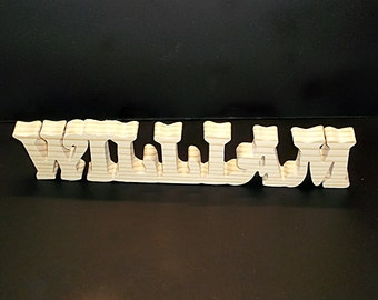 Name Sign 2 in . High x .75 in. thk 7 Letter Stand Alone  Unfinished  Wood Style 4 Stk No. N-4-.75-2-7-UC-SA