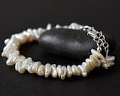 Keshi Freshwater Pearl Bracelet Cream White Ivory Bracelet Baroque Pearl Bridal Bracelet Wedding June Birthstone Bridesmaid Gift Best Friend