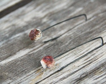 Cubic - raised from ashes - pit fired ceramic and sterling silver earrings