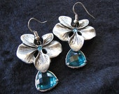 Silver earrings dangle | orchid flower | crystal drop | teal