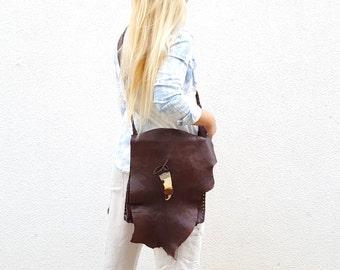 Ethnic Leather OOAK Crossbody Bag.