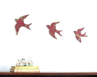Gold and Burgundy Sunny Swallows - Wall Art - Plywood - Ready to Hang