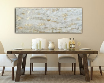 Textured Original Painting Gold and White 48x24 canvas Art
