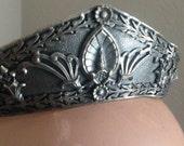 Vintage Deco Silver Metal Ornate Tiara Crown