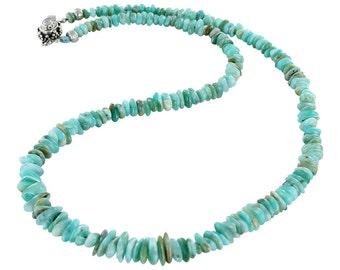 Blue Peruvian Opal Necklace Sterling Silver Opal