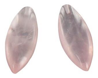Rose Quartz Beads Marquis Earring Set 26x9.5mm