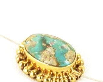 18K Gold  TURQUOISE CENTERPIECE Bead #12 New World Gems
