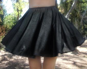 Circle mini skirt, sparkling dark-silver, size S, new