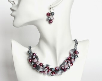 Red-Violet, Mauve and Gray Cluster Necklace and Earrings Set