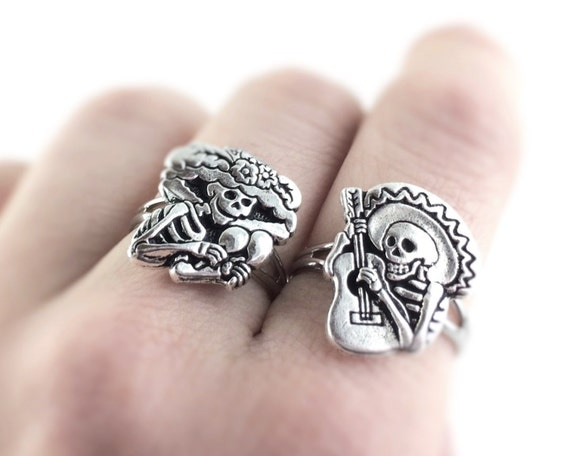 Sugar Skull Jewelry - Silver Sugar Skull Ring - Day of The Dead Jewelry - Dia De Los Muertos Jewelry - Best Friend Rings For Two 2