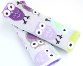 Purple and Green Owls Car seat strap covers- Reversible CAR SEAT STRAP covers- Lavender Owls on Plum