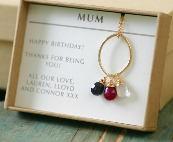Gold birthstone necklace, gift for mother necklace, new mother jewelry, new mom gift, 3 sisters necklace - Julie