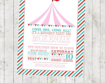 Circus Birthday Invitation - The Big Top - Digital File Available