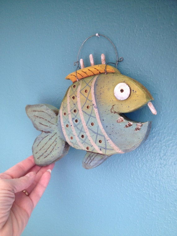 Items similar to fish feesh handpainted hand carved