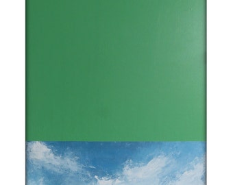 Large Abstract Original Minimal Painting on Canvas Modern Acrylic Painting - 24x48 - Green, Beige, Blue, White