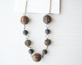 Long Wood Necklace, 5th Anniversary Gift, Brown Stone Jewelry, Banded Agate, Chunky, Antiqued Brass, Boho, Bohemian, Mixed Beads, Beaded