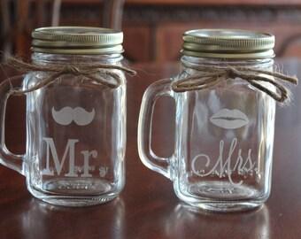 2 Engraved Mason Jar Mugs, Mr with Mustache, Mrs. with Lips,Wedding toasting glasses, Couples mason jar mugs, wedding gift, shower gift,