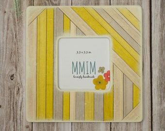 Yellow and Gray Picture Frame,  Photo Frame, Faux wood grain, Kids Room decor, Picture frames, Unique wood frames, Modern baby, home