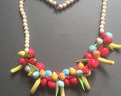 CIJ Sale Celluloid Fruit Salad Necklace 1940s