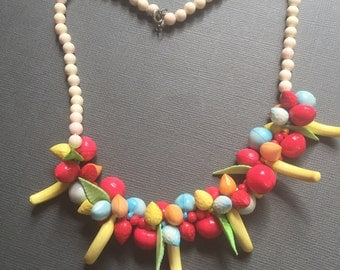 Celluloid Fruit Salad Necklace 1940s