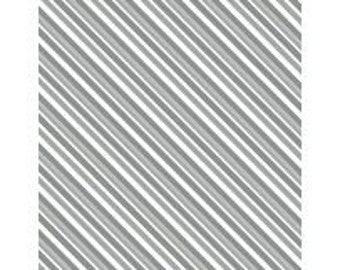 Gray and White Diagonal Stripe - Alpine from Wilmington Prints - Full or Half Yard Gray Stripe
